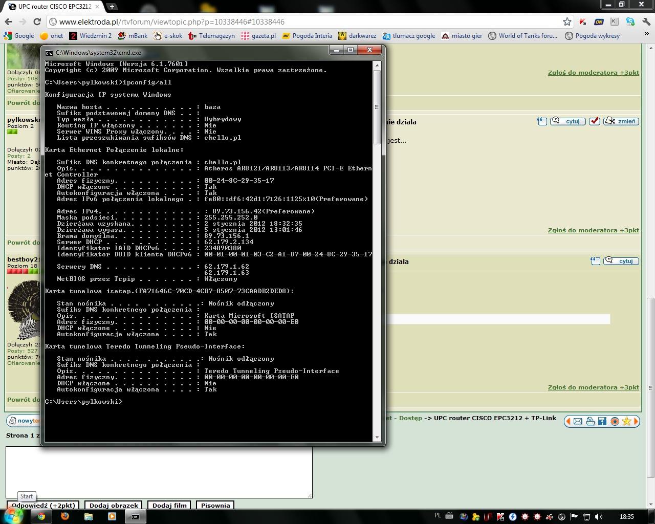 UPC router CISCO EPC3212  + TP-Link TL - WR543G wifi nie dziala