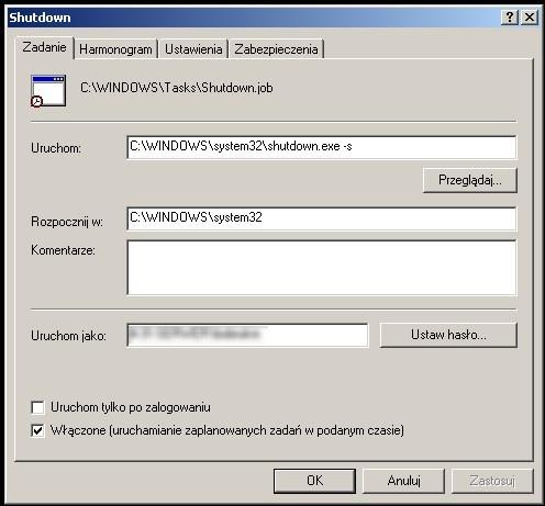Windows XP - Uruchamianie zaplanowanych zada� bez logowania si� u�ytkownika
