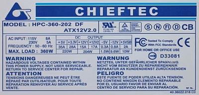 Chieftec model: HPC 360-202 DF spalony zasilacz naprawa ?