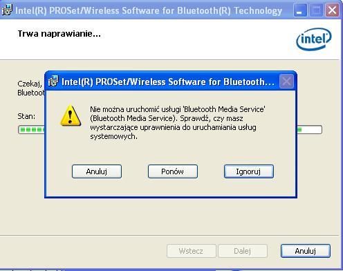 """Fujitsu a531 - Nie mo�na uruchomi� us�ugi """"bluethooth media service"""""""