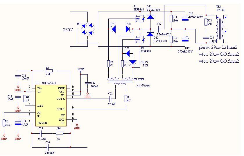 Zasilacz impulsowy (UC3525) problem