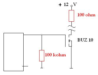 Tranzystor polowy BUZ10 - rezystancja na bramce?