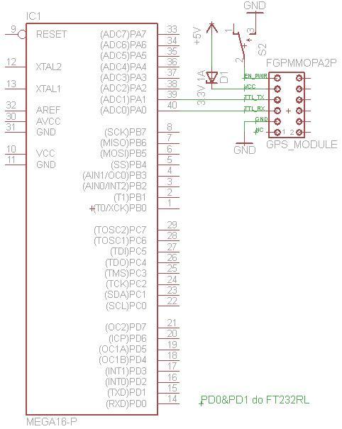 ATMEGA16 z GPS (FGPMMOPA2-P)