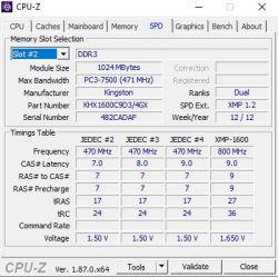 KHX1600C9D34GX - Kość 4GB 1600 Cpu-z widzi 1gb 940mhz