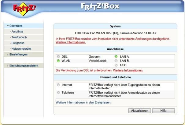 FritzBox 7050 - nie widzi nic na porcie LAN B
