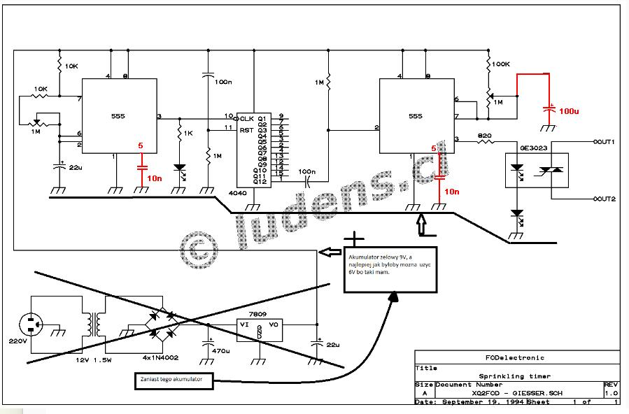 Timer NE555 - podlewanie ro�lin