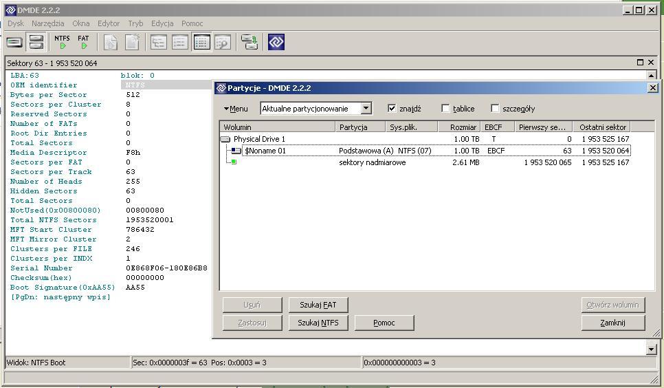 Sformatowany dysk zewn�trzny 1 TB - jak odzyska� NTFS