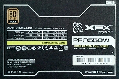 XFX model: XPS-550W-SEW - Cykanie z transformatora?