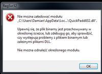 RegSvr32 błąd ładowania modułu - Błąd ładowania modułu QuickPaddll32.dll