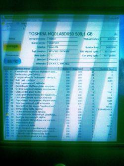 TOSHIBA MQ01ABD050 - Sektory niestabilne w związku z żywotnością dysku.