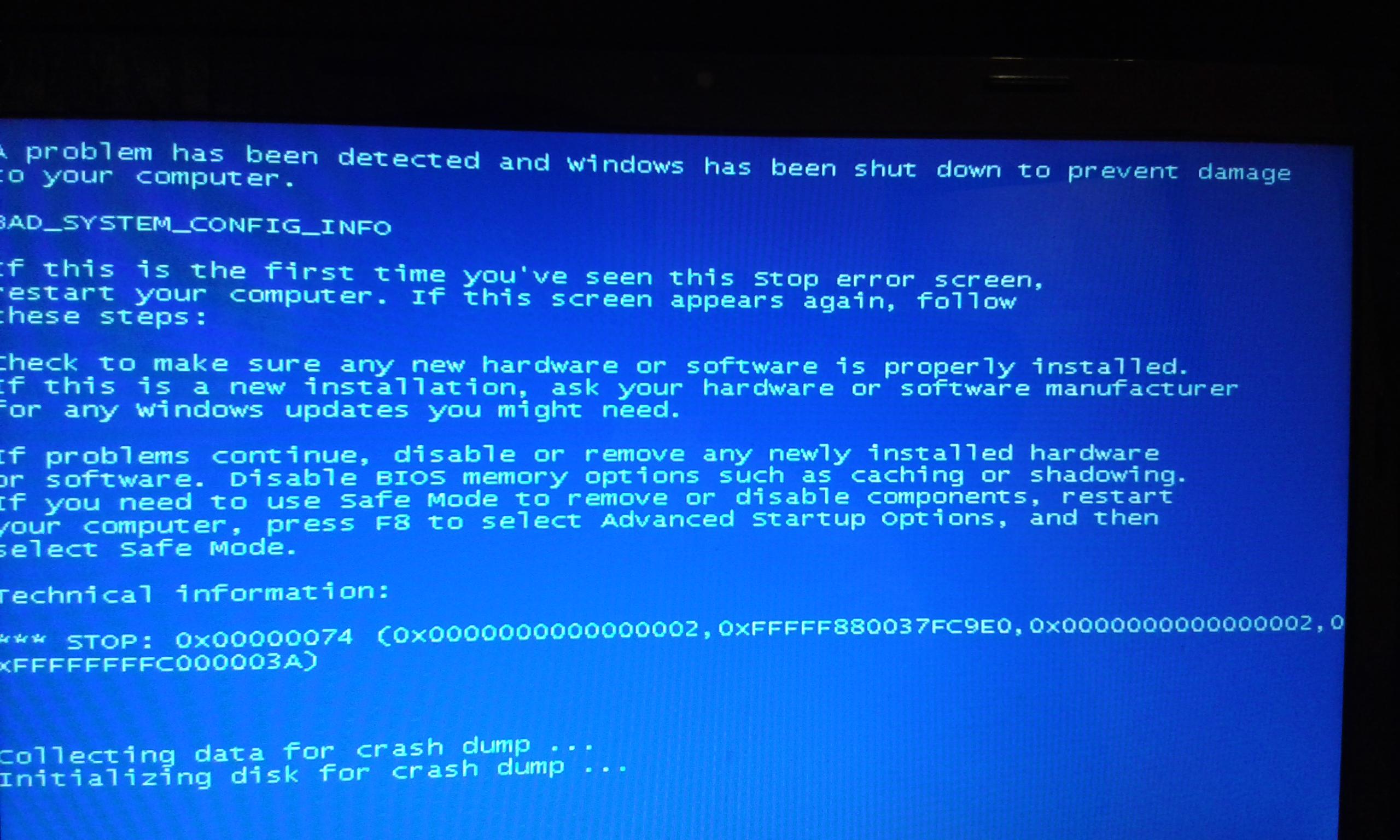 Bluescreen BAD_SYSTEM_CONFIG_INFO po załadowaniu się Windows7 Asus x53sv