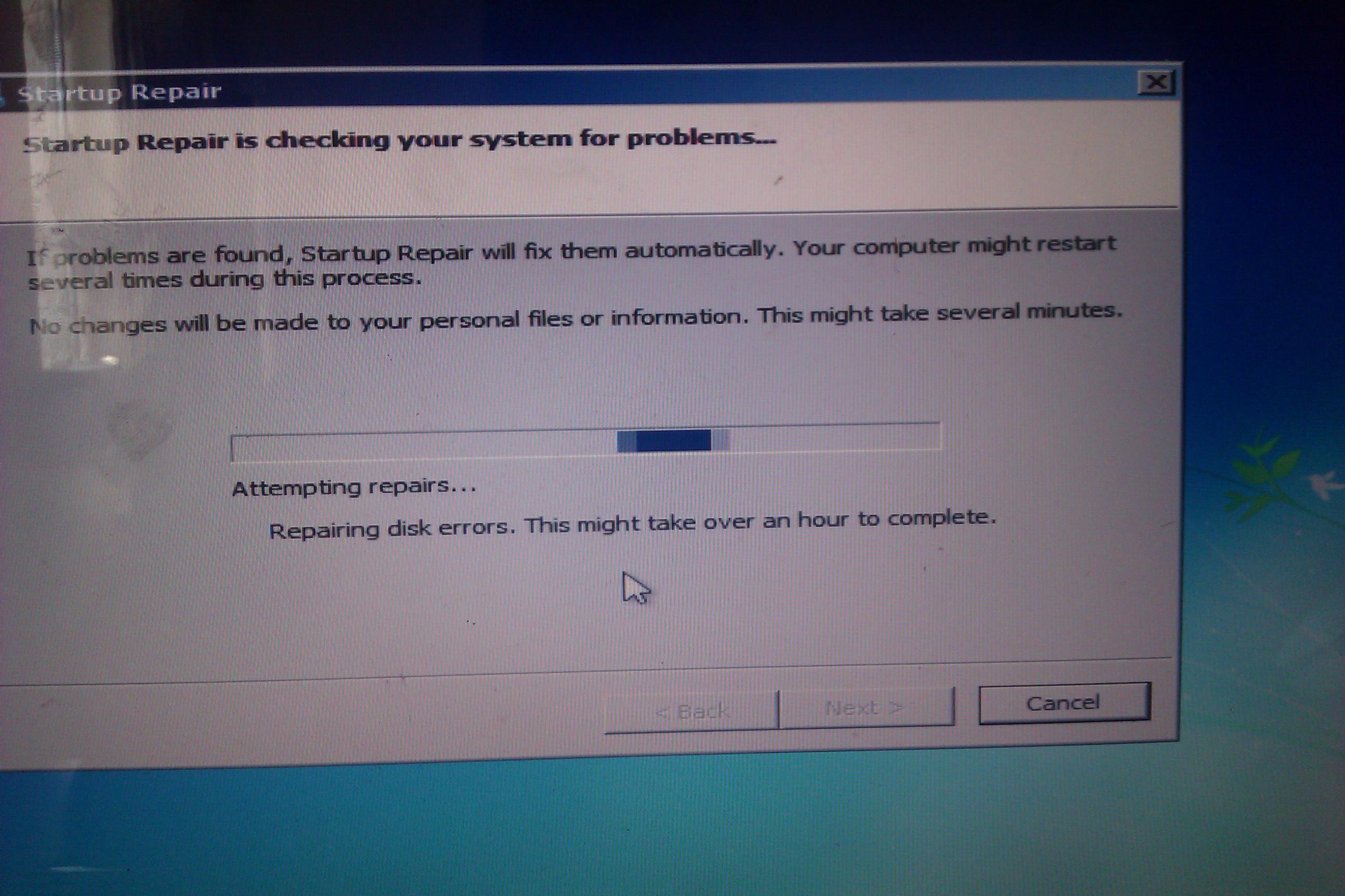 Sony Vaio PCG 71312L - System nie mo�e naprawi� b��d�w dysku