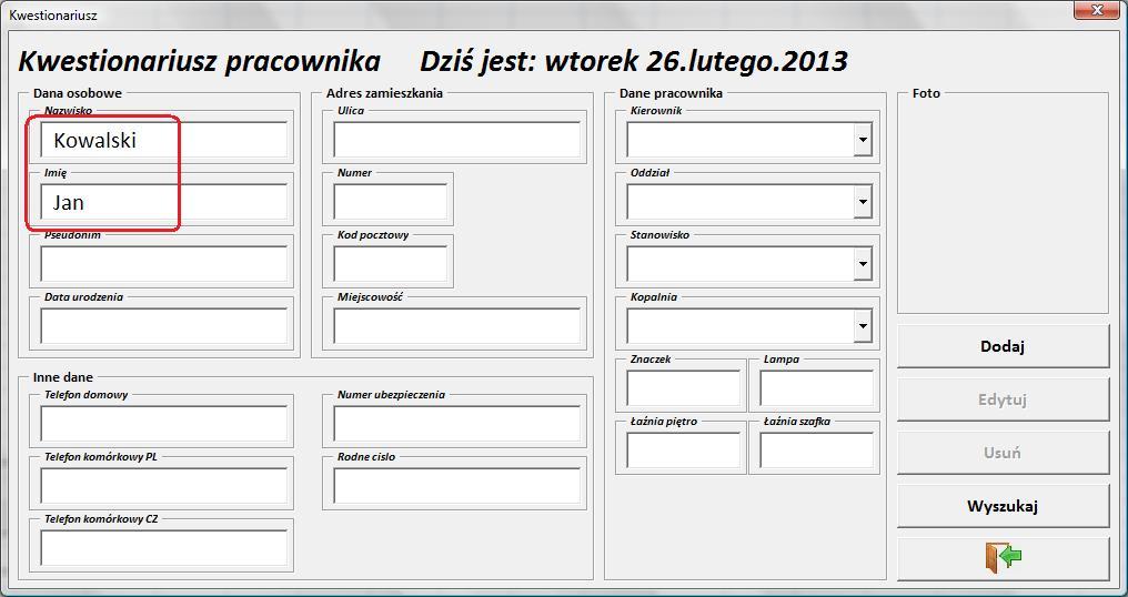 Excel- Kwestionariusz pracownika. Rozszerzenie mo�liwo�ci pliku