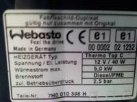 VW Transporter T5 2003 r Webasto Thermo Top C