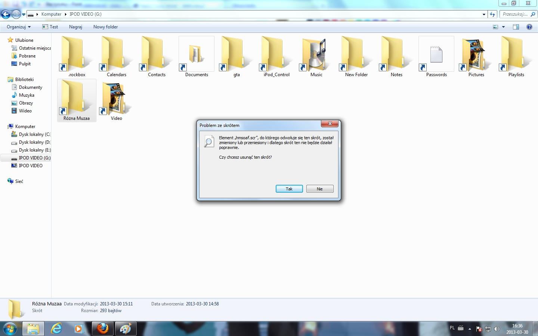 iPod video 30GB 5.5g Brak elment�w docelowych, widoczne tylko skr�ty