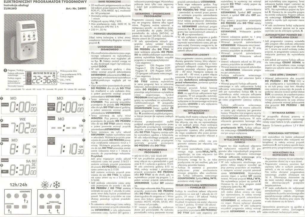 Instrukcja Obs�ugi Wy��cznika Czasowego DUWI 24991