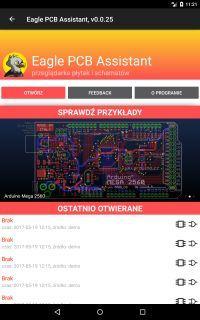 Android Eagle PCB Assistant - przeglądarka plików Eagle