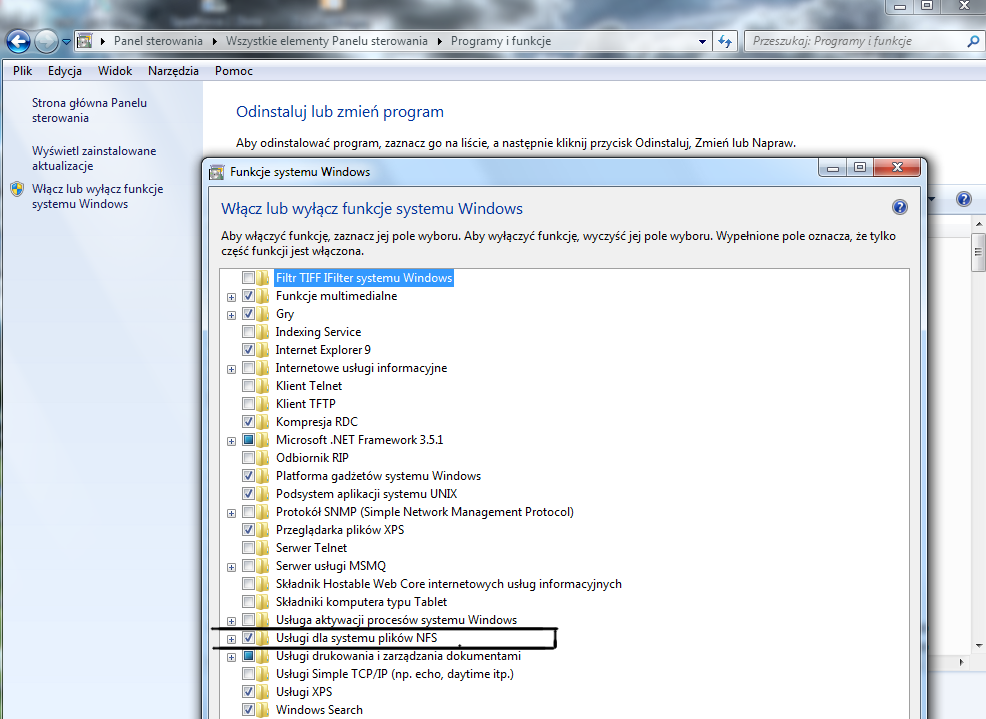 Windows 7 client services for nfs