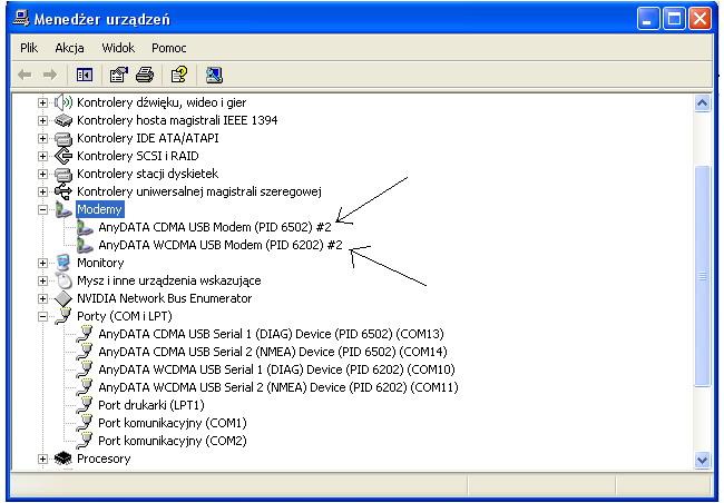 Komputer nie rozpoznaje urz�dzenia - modemu usb ADU-770WA