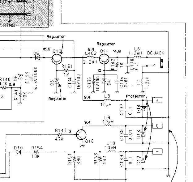 Panasonic KX-TC 180-B - odwr�cone zasilanie i po aparacie...