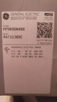 General Electric GE PP989DN4BB - Płyta z USA (2x120V) na 230V