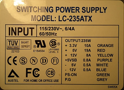 L&C model: LC-235ATX rev. PCB DR-200 ATX V2.02 - naprawa po 10 latach...