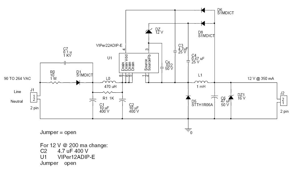 Power Supply Circuit Without Transformer