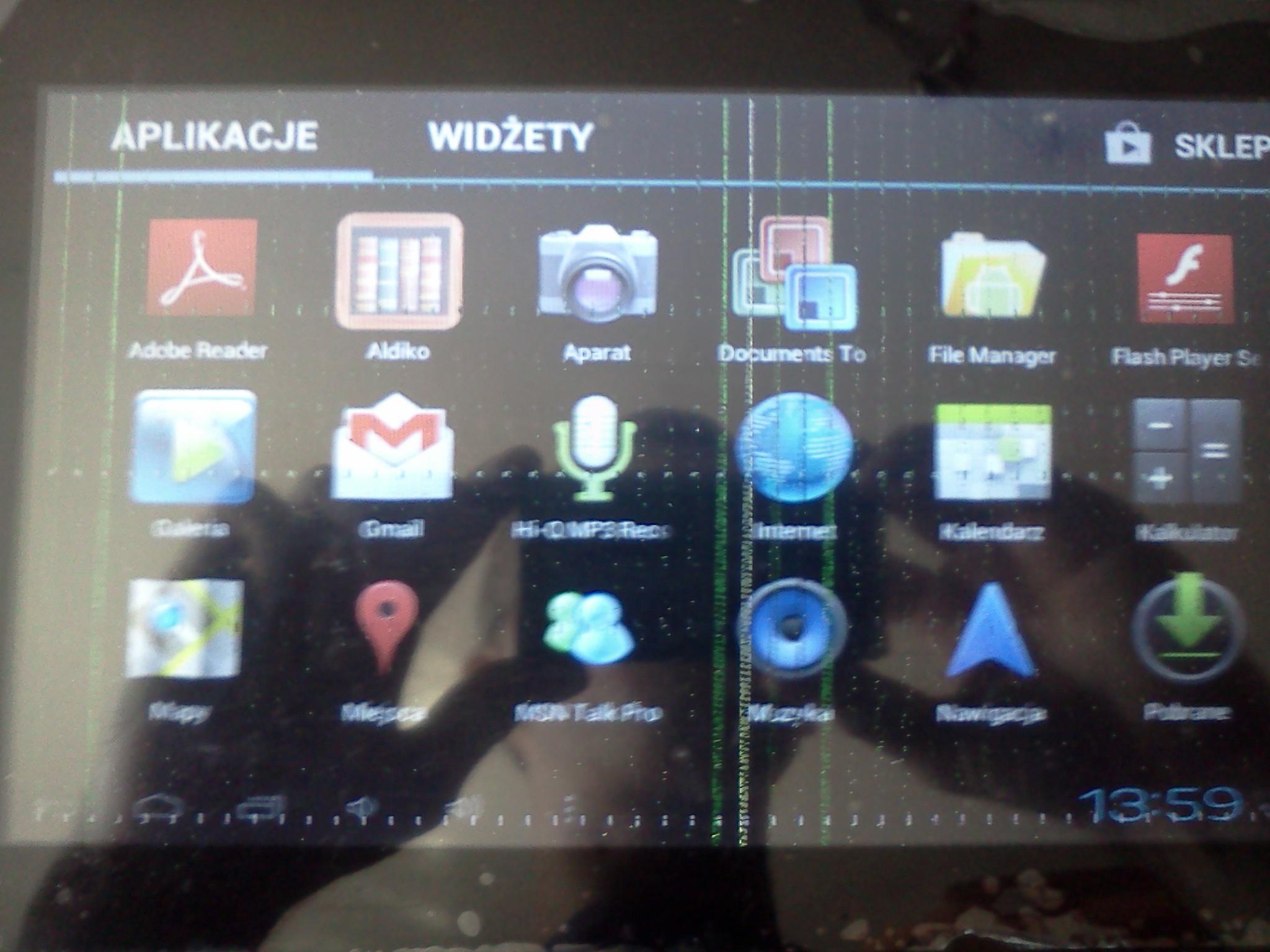 Tablet Kiano Young 9 dziwne kreski na ekranie itp