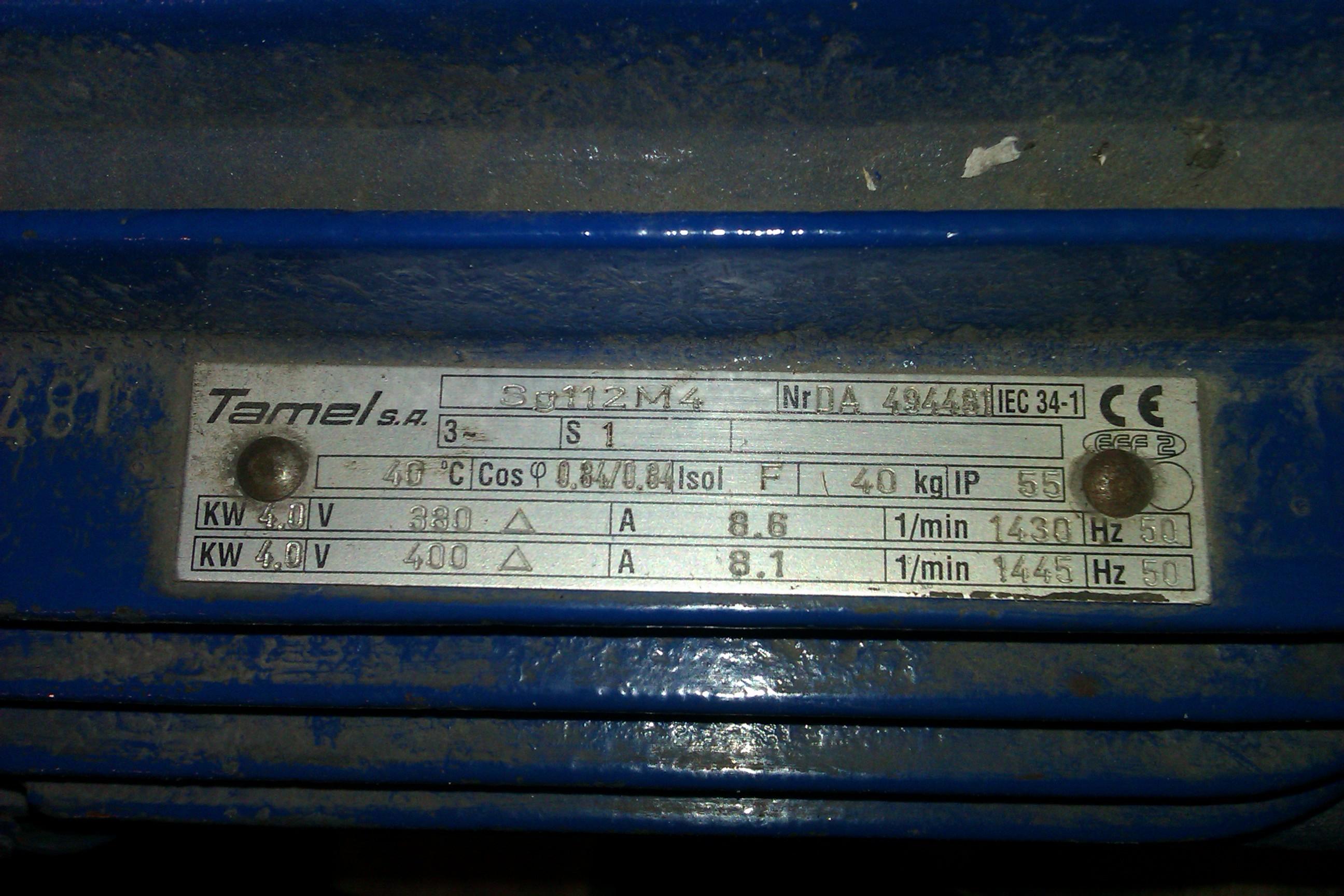 Zabezpieczenie spr�arki z silnikiem 4kW