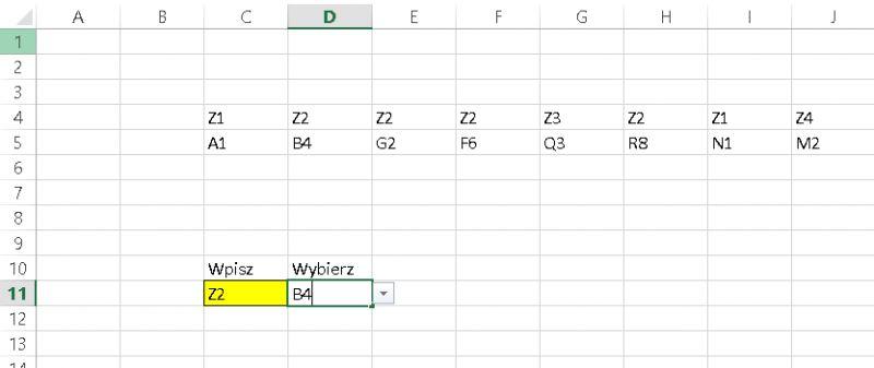 Excel lista rozwijana z warunkiem