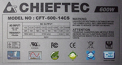 Chieftec model: CFT-600-14CS zwarty jest Mosfet 14NK50.