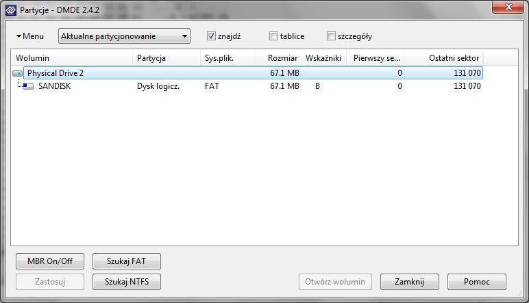 Sandisk Cruzer Titanium 8GB widziany jako dwa dyski wymienne po 63,7MB
