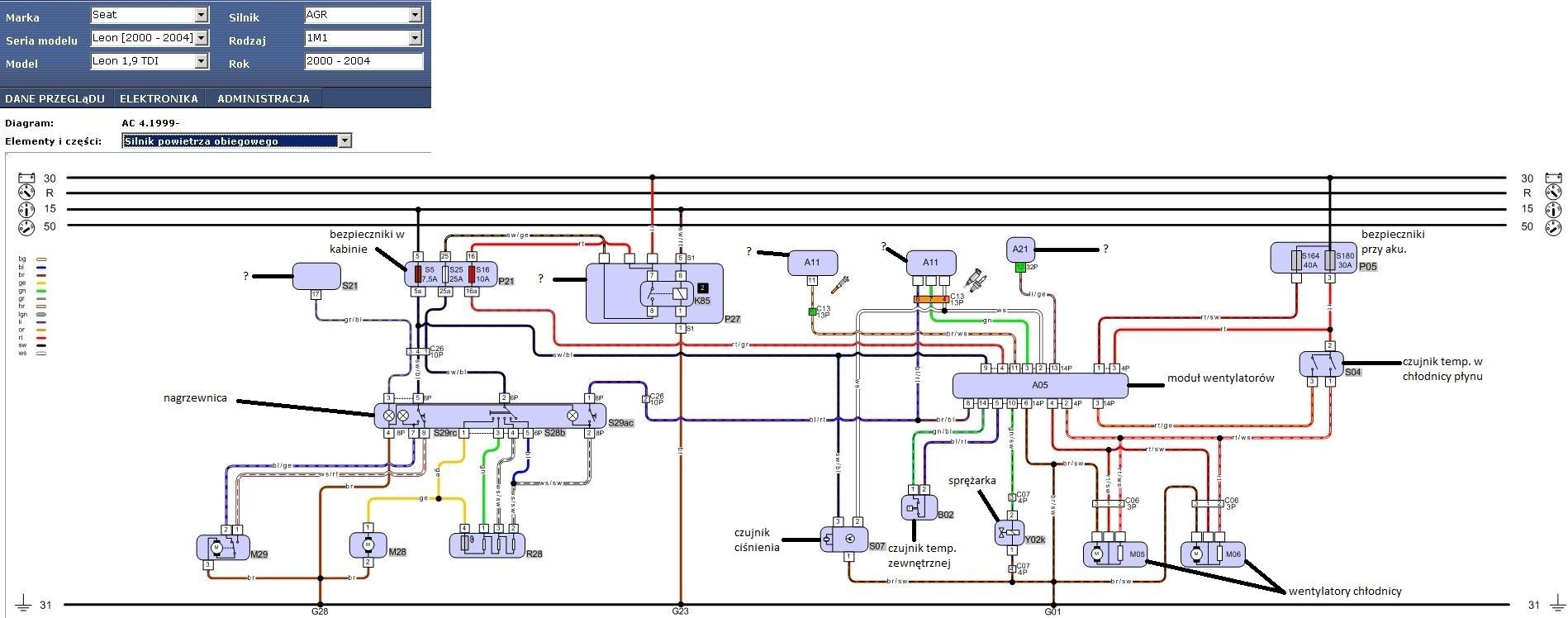 leon 1,9TDI 2001 - opis schematu elektrycznego klimatyzacji manualnej