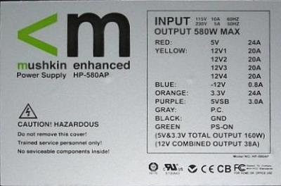 Mushkin model: HP-580AP- Nie dzia�a poprawnie wy��cznik ON/OFF na zasilaczu.