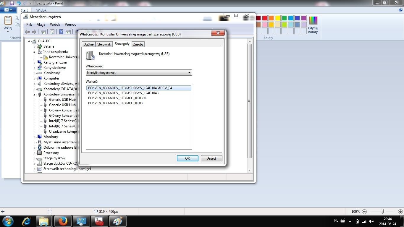 ASUS X550C - WIN7 Nie działaja porty USB.