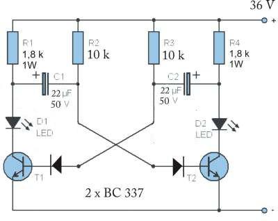 Rower elektryczny 36 volt. Multiwibrator LED na 36V