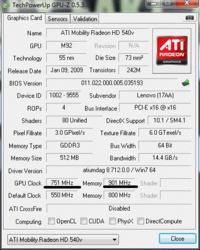 Lenovo G555 - Podkręcanie karty graficznej ATI Radeon HD 540v