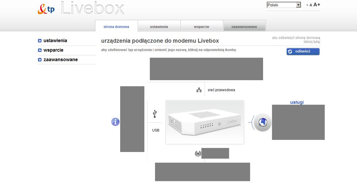 livebox 2 - logowanie do routera