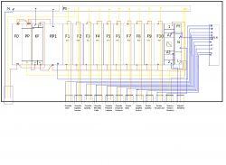 Schemat rozdzielnicy mieszkania oraz pytania.
