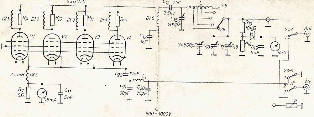 PA na GU50 - Obliczanie transformatora zasilaj�cego.
