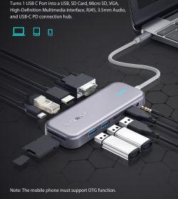 BW-TH8 czyli hub USB typu C dodatkowo oferujący wyjście na monitor HDMI/VGA