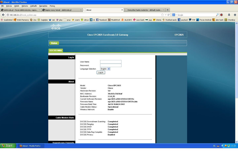 Cisco EPC3825 - Jakie has�o i nazwa u�ytkownika