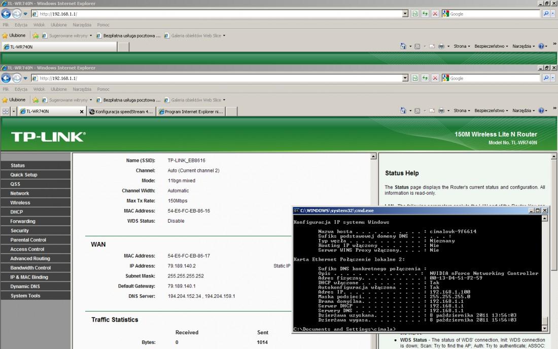 Konfiguracja speedStream 4100 z routerem TP Link TLWR-740N