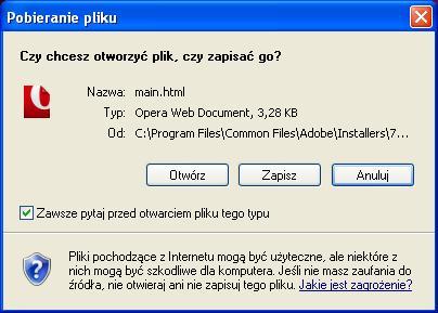 Z�o�liwe, wyskakuj�ce okno pobierania, brak biblioteki MSHTML.dll