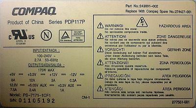 Compaq series PDP117P model: PS-7171-1CF1 - Piny g��wnej wtyczki 14-pin?