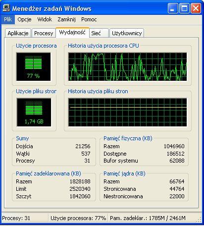 Windows XP SP2 - du�e obci��enie CPU podczas korzystania z Internetu