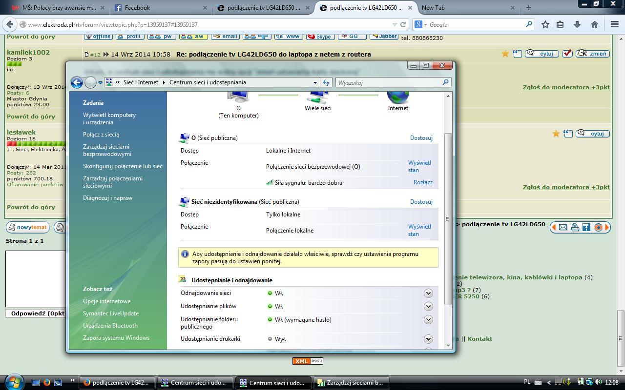 podl�czenie tv LG42LD650 do laptopa z netem z routera