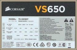 Corsair VS650 model 75-001837 - zasilacz nie działa, nie startuje