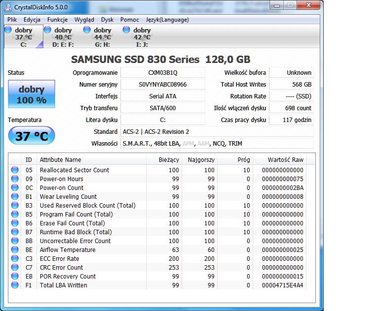 SSD Samsung 830 120Gg dziwne odczyty SMART