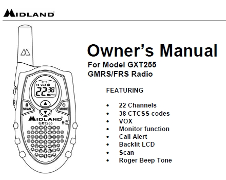 Midland GXT-255 GMRS Porto Manual EN